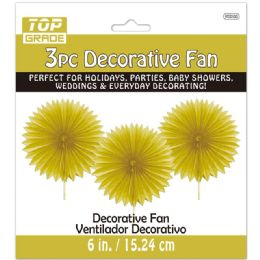 96 of Three Count Decoration Fan In Gold