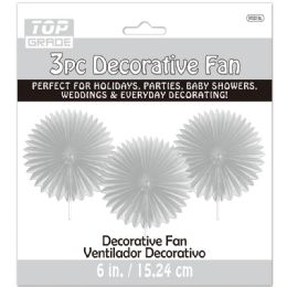 96 of Three Count Decoration Fan In Silver
