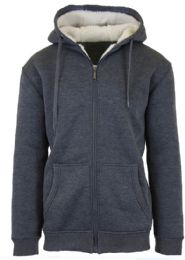 12 of Mens Charcoal Fleece Line Sherpa Hoodies Assorted Sizes