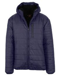 12 of Mens Sherpa-Lined Hooded Puffer Jacket, Assorted Sizes S-XXL Navy