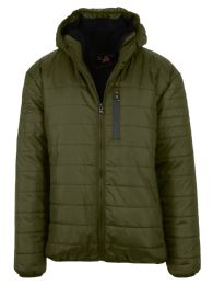 12 of Mens Sherpa-Lined Hooded Puffer Jacket, Assorted Sizes S-XXL Olive