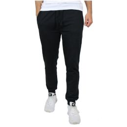 24 of Men's Slim-Fit French Terry Joggers Solid Black Assorted Sizes S-XXL