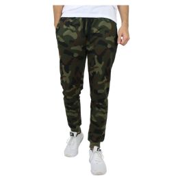 24 of Men's Slim-Fit French Terry Joggers Solid Camo Assorted Sizes S-XXL