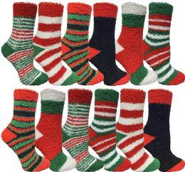 12 of Yacht & Smith Women Fuzzy Socks Crew Socks, Warm Butter Soft (9-11) (12 Pack Assorted A)