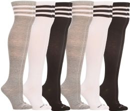 6 of Yacht & Smith Womens Over the Knee Socks, Assorted Premium Soft, Cotton Colorful Patterned (6 Pairs Striped (Black, White, Gray))