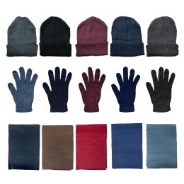 144 of Yacht & Smith Unisex 3 Piece Winter Care Set, Assorted Beanie Hat , Assorted Magic Gloves And Assorted Fleece Scarf