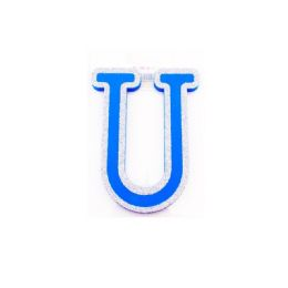 96 of Blue And Silver Trim Letter U