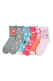 216 of Girl's Assorted Design Crew Socks Size 2-3