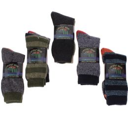 24 of Men's Two Pair Pack Outdoor Socks Assorted Patterns and Color