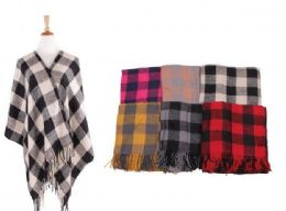 18 of Women's Plaid Sweater Poncho Cape Coat Open Front Blanket Shawls and Wraps