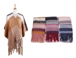 18 of Women Poncho Open Front Blanket Shawl Capes Knitted Sweater Cardigan Wraps