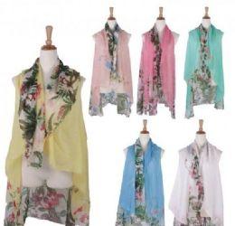 120 of Women Floral Print Lightweight Scarf Vest