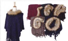 18 of Women's Cozy Warm Poncho Sweater Faux Trim Dress Topper Poncho