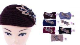 120 of Women Knitted Headbands Winter Warm Head Wrap Rhinestone Flower Wide Hair Accessories