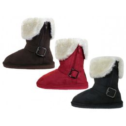 24 of Youths Micro Suede Foldover Boots With Faux Fur Lining and Side Zipper