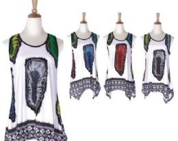 60 of Women's Feather Print Loose Casual Flowy Tunic Tank Top