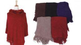 18 of Women Fine Knit Faux Fur Trim Layers Poncho Cape Cardigan Sweater