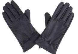 72 of Women's Black Leather Gloves With Buttons