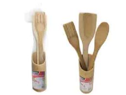 96 of 4 Piece Bamboo Utensils w/ Holder