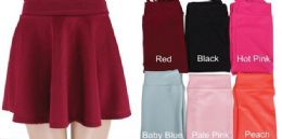 48 of Womens Basic Solid Versatile Stretchy Flared Casual Mini Skater Skirt
