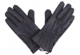 72 of Mens Black PU Gloves In Black