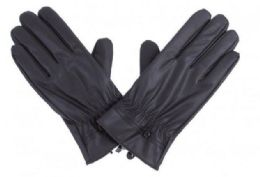 72 of Mens Black PU Gloves In Black With Button Detail