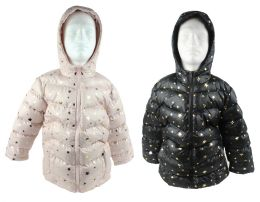 12 of Boy's & Girl's Metallic Star Winter Bubble Ski Jackets w/ Hood - Sizes XS-XL - Choose Your Color(s)