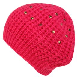 24 of Knit Double Layer Beret With Studs