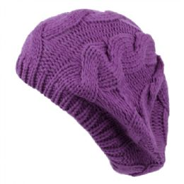 24 of Classic Solid Color Knit Berets