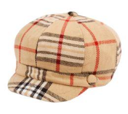 24 of Plaid Fashion Cabbie Hat In Khaki
