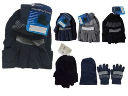 144 of Men's Hat And Gloves Set One Size Fits Most, Black, Grey, Blue