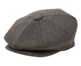 12 of Brushed Solid Color Wool Blend Newsboy Cap With Quilted Satin Lining In Grey