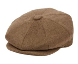 12 of Brushed Solid Color Wool Blend Newsboy Cap With Quilted Satin Lining In Light Brown