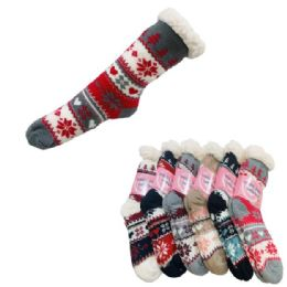 48 of Women's Plush-Lined Non Slip Sherpa Socks [Snowflakes]