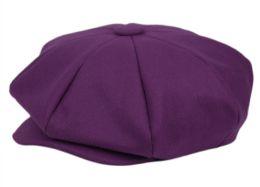 12 of Solid Color 8 Panel Big Applejack Newsboy Cap In Purple