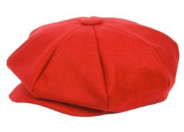 12 of Solid Color 8 Panel Big Applejack Newsboy Cap In Red