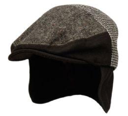 12 of Herringbone Houndstooth Wool Ivy Cap With Fleece Earlap And Lining In Black