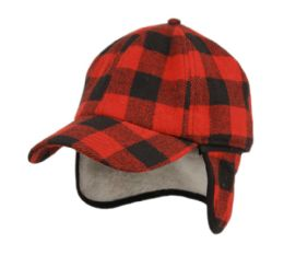12 of Wool Blend Earflap Cap With Sherpa Lining In Buffalo Plaid