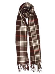 24 of Plaid Soft Cashmere Feel Scarf in Brown