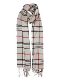 24 of Plaid Soft Cashmere Feel Scarf in Gray