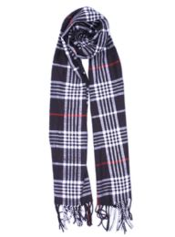24 of Plaid Soft Cashmere Feel Scarf in Navy