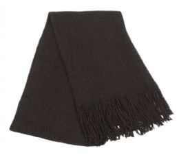 18 of Mens Winter Solid Knit Scarf In Black