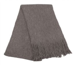 18 of Mens Winter Solid Knit Scarf In Charcoal