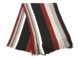 18 of Mens Winter Knit Stripe Scarf In Burgandy