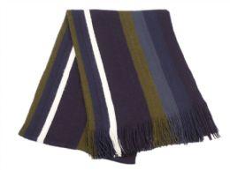 18 of Mens Winter Knit Stripe Scarf In Navy