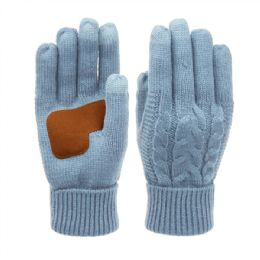 12 of Ladies Cable Knit Winter Glove With Screen Touch And Suede Palm Patch In Inigo Blue