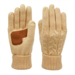 12 of Ladies Cable Knit Winter Glove With Screen Touch And Suede Palm Patch In Khaki
