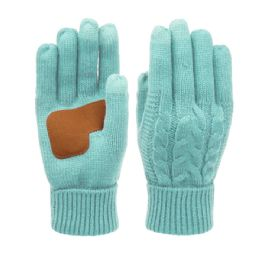 12 of Ladies Cable Knit Winter Glove With Screen Touch And Suede Palm Patch In Mint