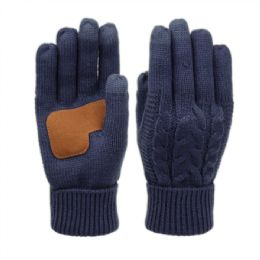 12 of Ladies Cable Knit Winter Glove With Screen Touch And Suede Palm Patch In Navy