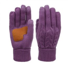 12 of Ladies Cable Knit Winter Glove With Screen Touch And Suede Palm Patch In Purple